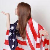 Kid and US flag — Stock Photo