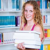 Student female with books — Stockfoto