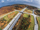 Aerial view of a road junction — Stock Photo