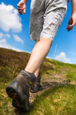 Man hiking on a lovely sunny day, going uphill — Stock Photo