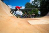 BMX Biker Performing Tricks — Stock Photo