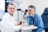 Optometry concept, eye examine — Stock Photo
