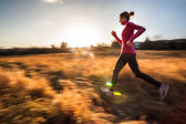 Woman running outdoors on a lovely sunny winter or fall day — Stock Photo