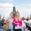 Young women sightseeing in Prague historic center — Stock Photo #69974375