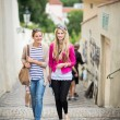 Young women sightseeing in Prague historic center — Stockfoto #69974395