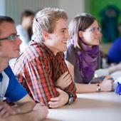 Pohledný vysokoškolský student ve třídě plné studentů — Stock fotografie