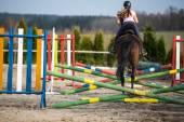Jonge vrouw show jumping met paard — Stockfoto