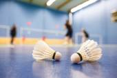 Badminton - badminton courts with players competing — Stock Photo