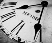 New York black and white clock face — Stock Photo