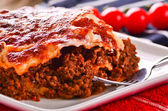 Fresh home cooked lasagna — Stock Photo