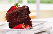 Home made sticky delicious chocolate cake — Stock Photo