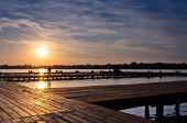 Pôr do sol no lago Palic — Fotografia Stock
