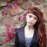 Unusual freckles woman urban fashion European style — Stock Photo #58362547