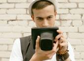 Hipster de joven fotógrafo — Foto de Stock