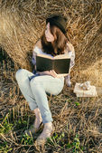 Girll hipster reads book against hay bale in fall — Stock Photo