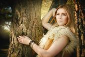 Moderno cuento de hadas sobre la belleza de niña en madera — Foto de Stock