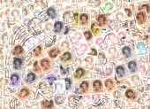 Background of Dutch postage stamps — Stock Photo
