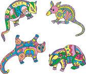 Motley exotic animals — Stock Vector
