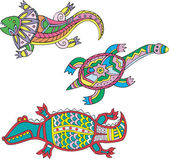 Motley lizard, turtle and crocodile — Stock Vector
