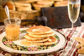 Belgian waffles with honey — Stock Photo
