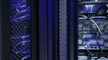 Backside of servers in datacenter — Stock Video