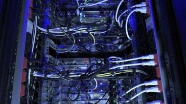 Vertical dolly shot data center blue light — Stock Video