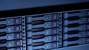 Closeup internet servers — Stock Video