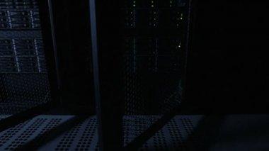 Closing door of servers rack in datacenter — Stock Video