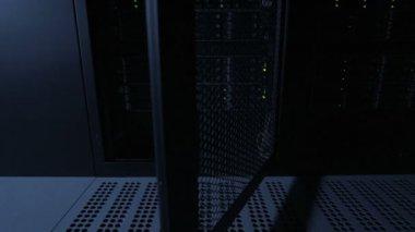 Servers racks in datacenter — Stock Video