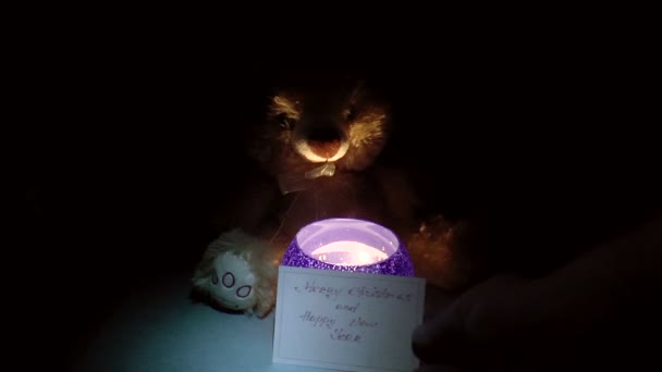 Teddy bear with a candlestick — Vidéo