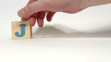 Cubos de madera. Meses del año. Junio — Vídeo de Stock