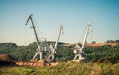 Cranes sand mining — Stock Photo