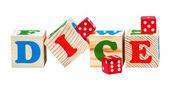 Cubos de madeira. Palavra de dados — Fotografia Stock