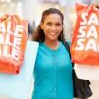 Excited Female Shopper With Sale Bags In Mall — Stock Photo #59344757