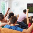 Friends Watching Soccer Celebrating Goal — Stock Photo #59345535