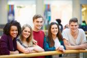 Group Of Friends Hanging Out In Shopping Mall — Stock Photo