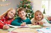 Children Writing Letters To Santa — Stock Photo