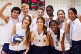 Volleyball Team Members With Coach — Stock Photo