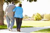 Senior Woman Helping Husband As They Walk In Park Together — Stock Photo
