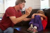 Father Physically Abusive Towards Daughter — Stock Photo