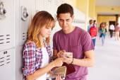 Students Looking At Mobile Phone — Stock Photo