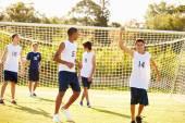 Player Scoring Goal In Soccer Match — Stock Photo