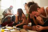 Gang Of Young People Taking Drugs — Stock Photo