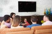 Friends  Watching TV Together — Stock Photo