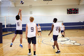 Volleyball Match In Gymnasium — Stock Photo