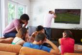 Friends  Watching Soccer Together — Stock Photo