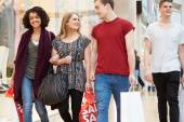Group Of Young Friends Shopping In Mall Together — Stock Photo