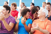 Audience Applauding At Outdoor Concert — Stock Photo