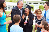 Hispanic Student And Family Celebrating Graduation — Stockfoto
