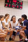 Volleyball Team Have Team Talk From Coach — Stock Photo